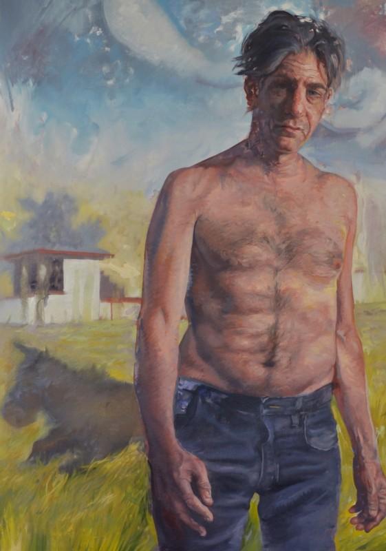 Jason John, With the Donkey, 2013, from the film still Donkey, Oil on canvas.