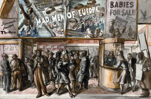 Reginald Marsh (1897 – 1955), Mad Men of Europe, 1940, Watercolor on paper, Collection of John and Susan Horseman.